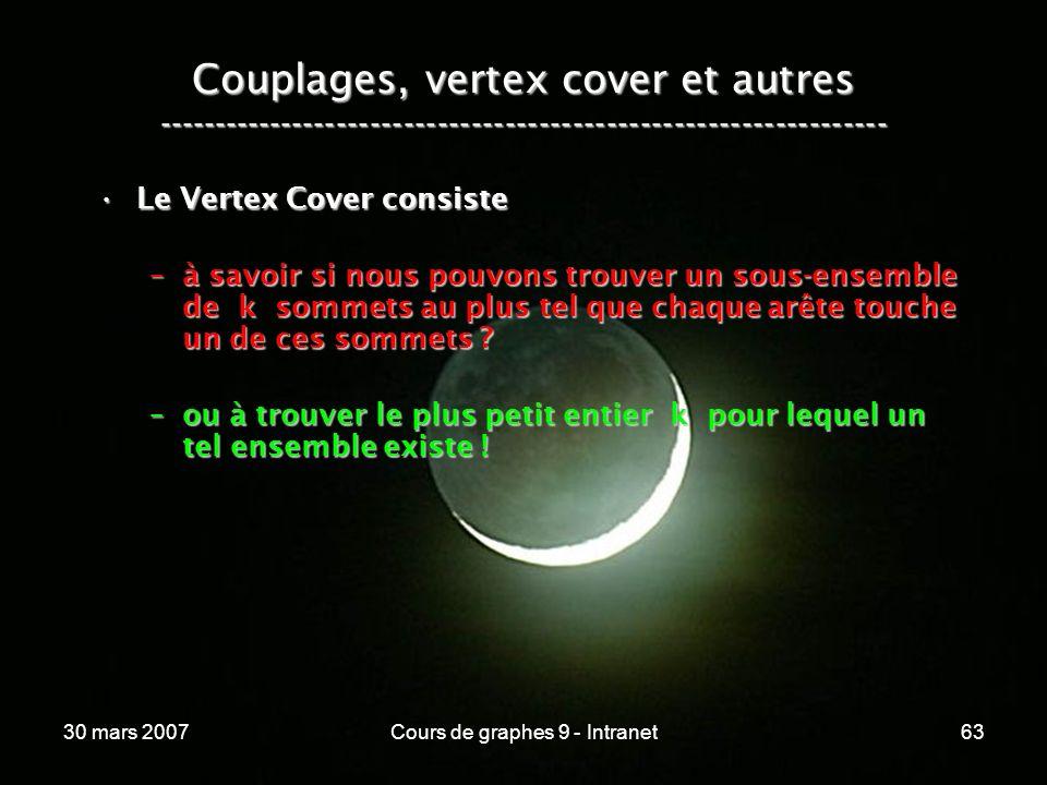 30 mars 2007Cours de graphes 9 - Intranet63 Couplages, vertex cover et autres ----------------------------------------------------------------- Le Ver