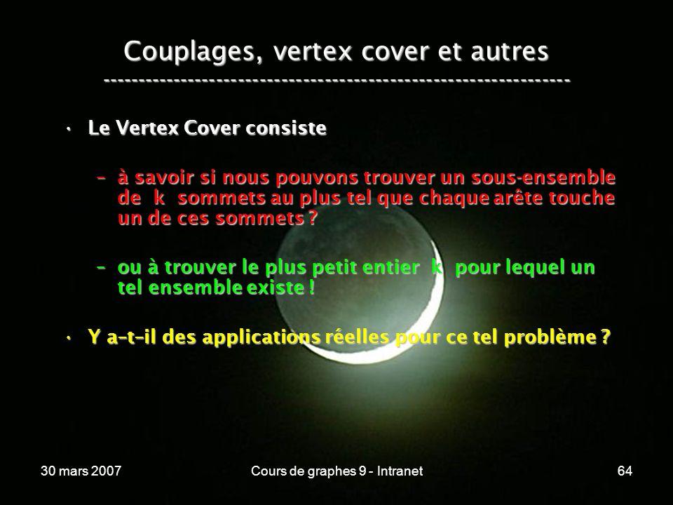 30 mars 2007Cours de graphes 9 - Intranet64 Couplages, vertex cover et autres ----------------------------------------------------------------- Le Ver