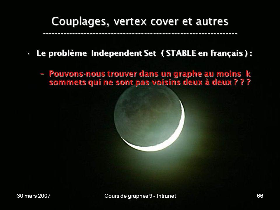 30 mars 2007Cours de graphes 9 - Intranet66 Couplages, vertex cover et autres ----------------------------------------------------------------- Le pro