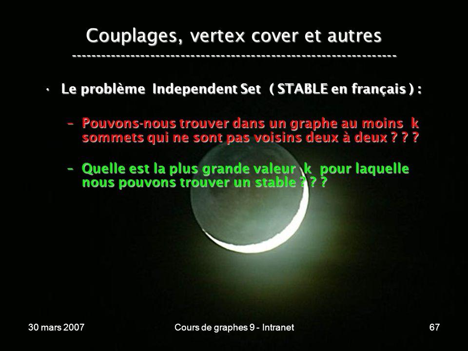 30 mars 2007Cours de graphes 9 - Intranet67 Couplages, vertex cover et autres ----------------------------------------------------------------- Le pro