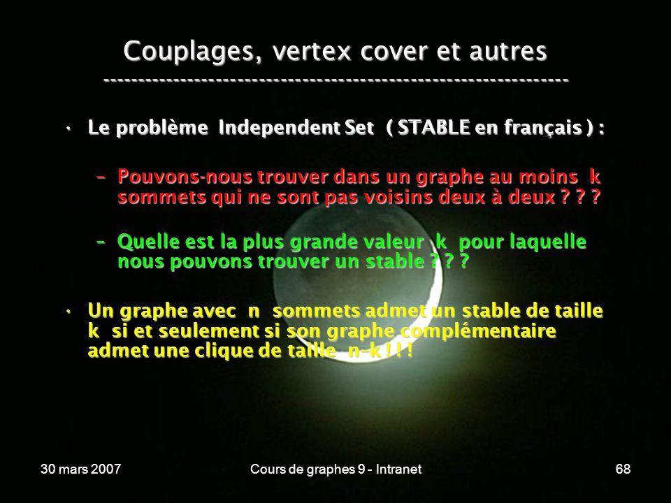 30 mars 2007Cours de graphes 9 - Intranet68 Couplages, vertex cover et autres ----------------------------------------------------------------- Le pro