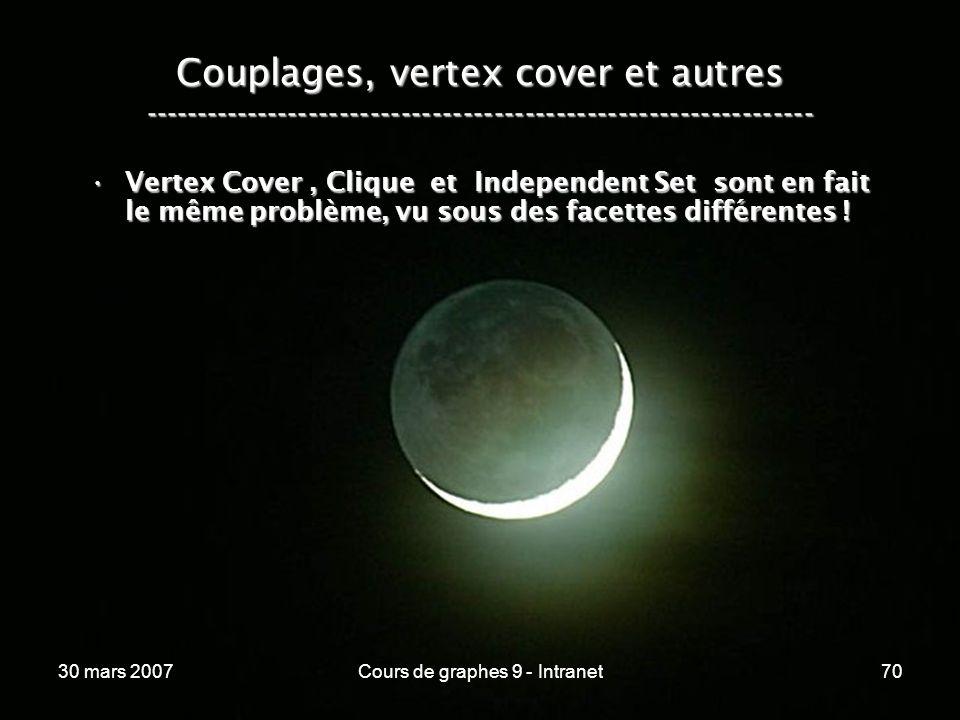 30 mars 2007Cours de graphes 9 - Intranet70 Couplages, vertex cover et autres ----------------------------------------------------------------- Vertex