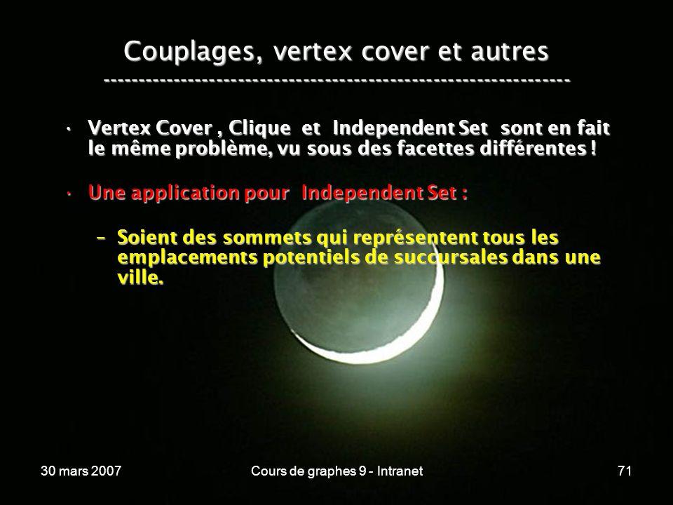 30 mars 2007Cours de graphes 9 - Intranet71 Couplages, vertex cover et autres ----------------------------------------------------------------- Vertex