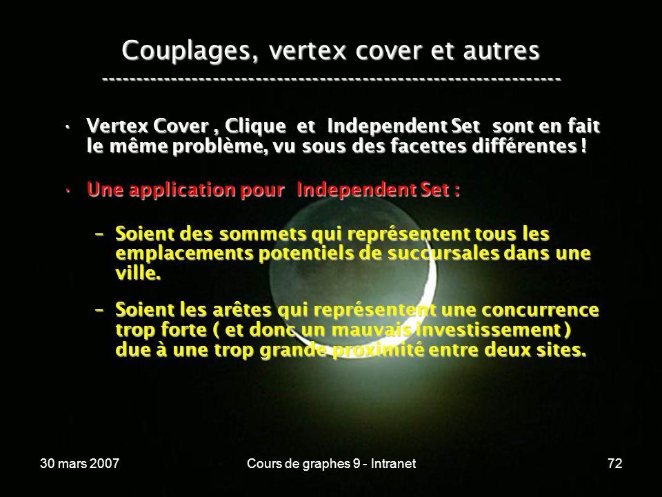 30 mars 2007Cours de graphes 9 - Intranet72 Couplages, vertex cover et autres ----------------------------------------------------------------- Vertex