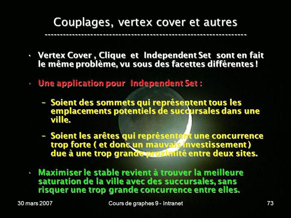 30 mars 2007Cours de graphes 9 - Intranet73 Couplages, vertex cover et autres ----------------------------------------------------------------- Vertex