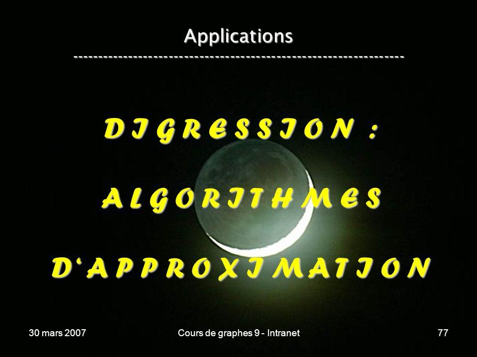 30 mars 2007Cours de graphes 9 - Intranet77 Applications ----------------------------------------------------------------- D I G R E S S I O N : A L G