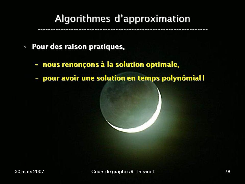30 mars 2007Cours de graphes 9 - Intranet78 Algorithmes dapproximation ----------------------------------------------------------------- Pour des rais
