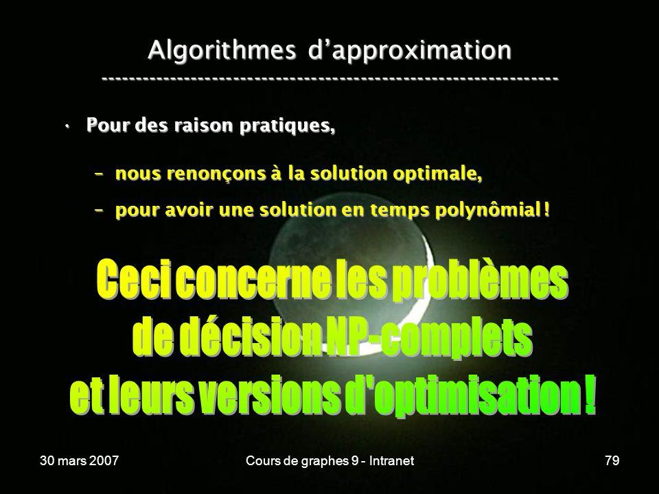 30 mars 2007Cours de graphes 9 - Intranet79 Algorithmes dapproximation ----------------------------------------------------------------- Pour des rais