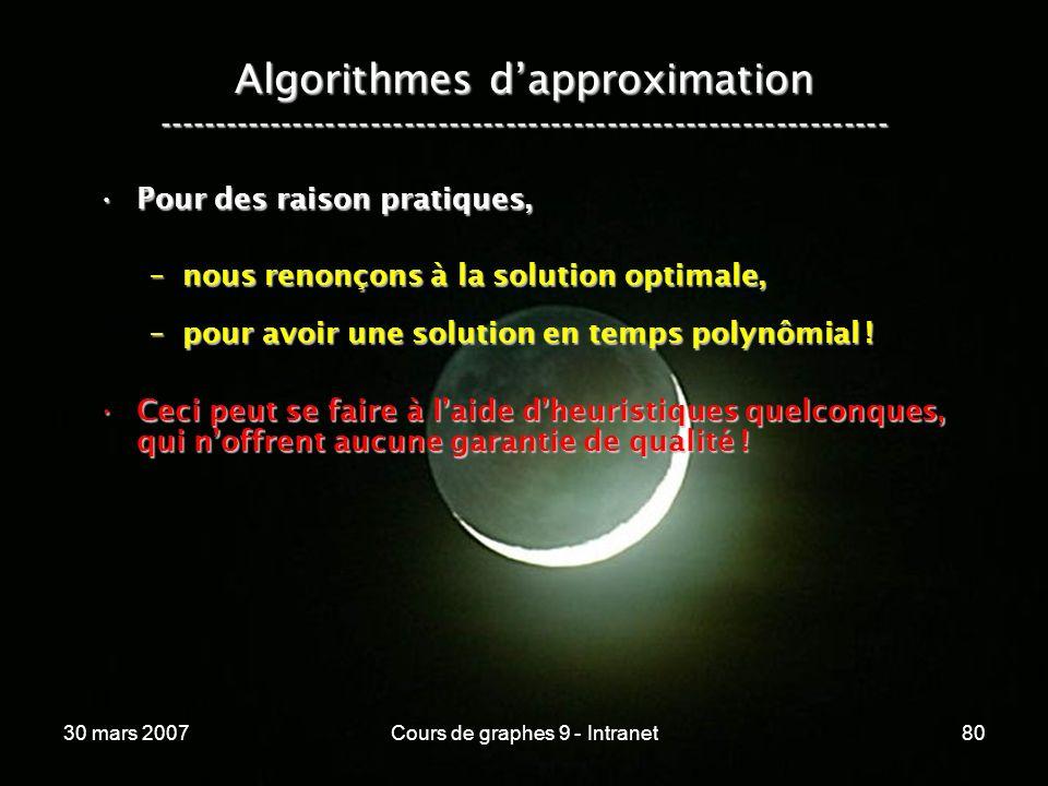 30 mars 2007Cours de graphes 9 - Intranet80 Algorithmes dapproximation ----------------------------------------------------------------- Pour des rais