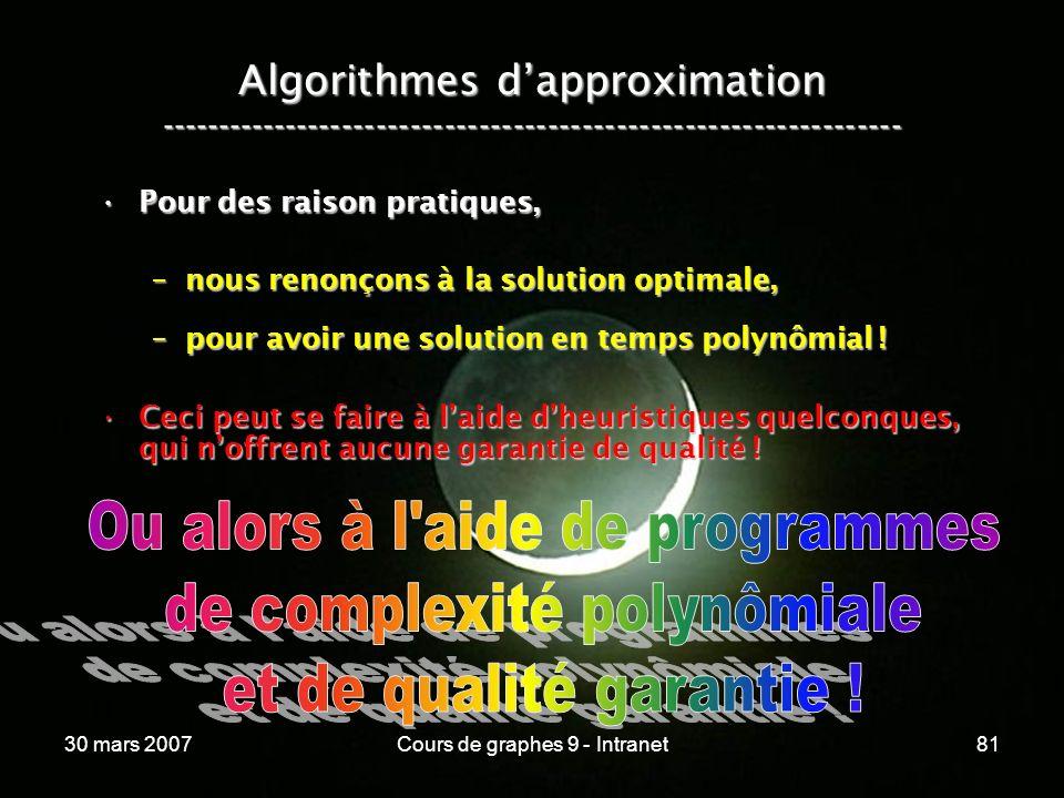 30 mars 2007Cours de graphes 9 - Intranet81 Algorithmes dapproximation ----------------------------------------------------------------- Pour des rais