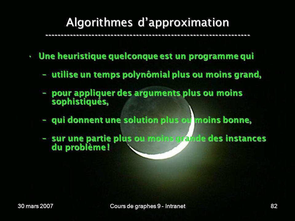 30 mars 2007Cours de graphes 9 - Intranet82 Algorithmes dapproximation ----------------------------------------------------------------- Une heuristiq