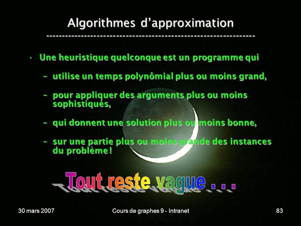 30 mars 2007Cours de graphes 9 - Intranet83 Algorithmes dapproximation ----------------------------------------------------------------- Une heuristiq