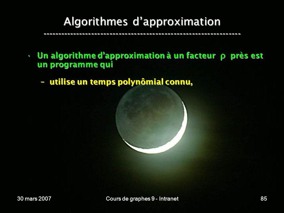 30 mars 2007Cours de graphes 9 - Intranet85 Algorithmes dapproximation ----------------------------------------------------------------- Un algorithme