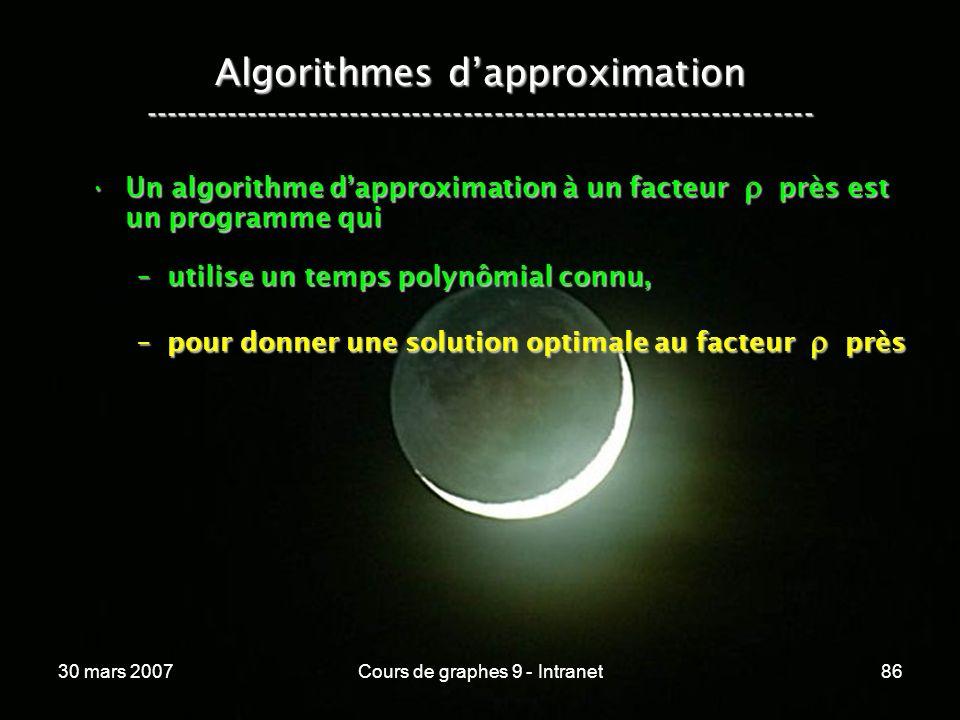 30 mars 2007Cours de graphes 9 - Intranet86 Algorithmes dapproximation ----------------------------------------------------------------- Un algorithme