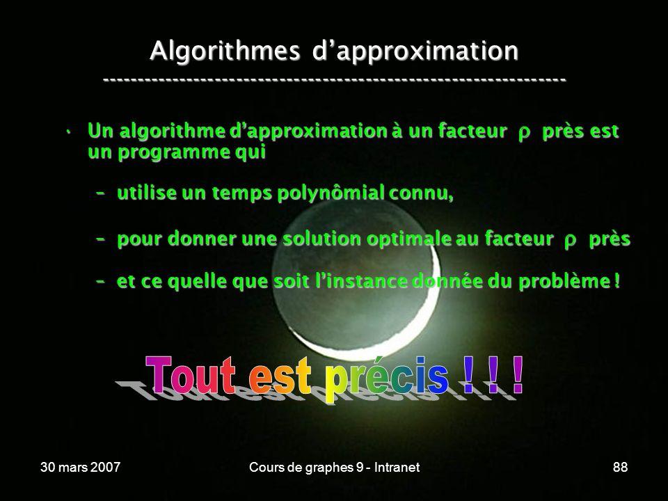 30 mars 2007Cours de graphes 9 - Intranet88 Algorithmes dapproximation ----------------------------------------------------------------- Un algorithme