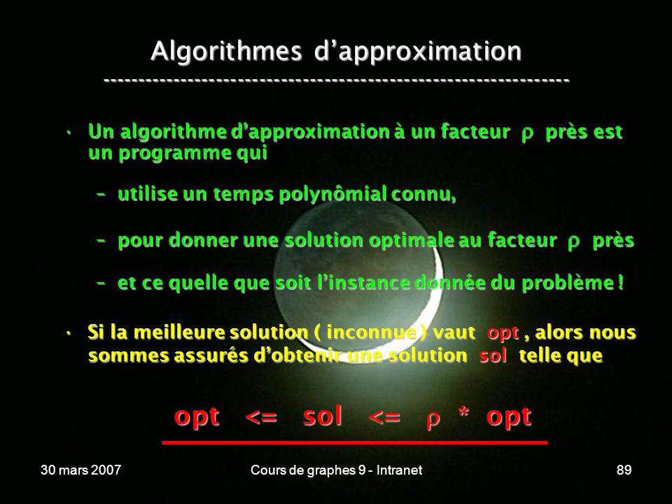 30 mars 2007Cours de graphes 9 - Intranet89 Algorithmes dapproximation ----------------------------------------------------------------- Un algorithme