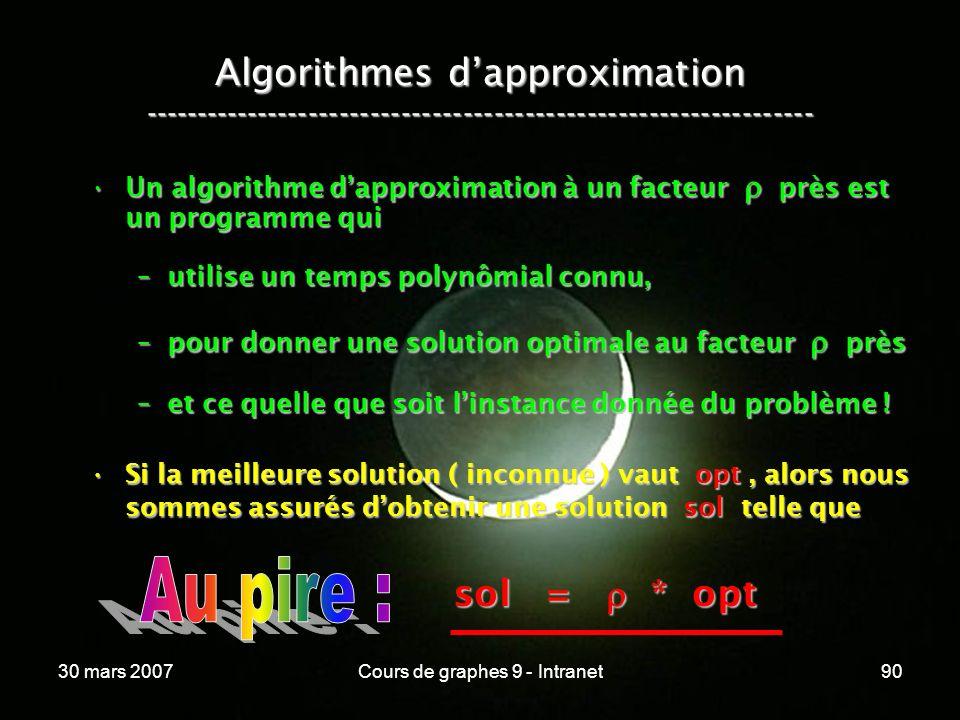 30 mars 2007Cours de graphes 9 - Intranet90 Algorithmes dapproximation ----------------------------------------------------------------- Un algorithme