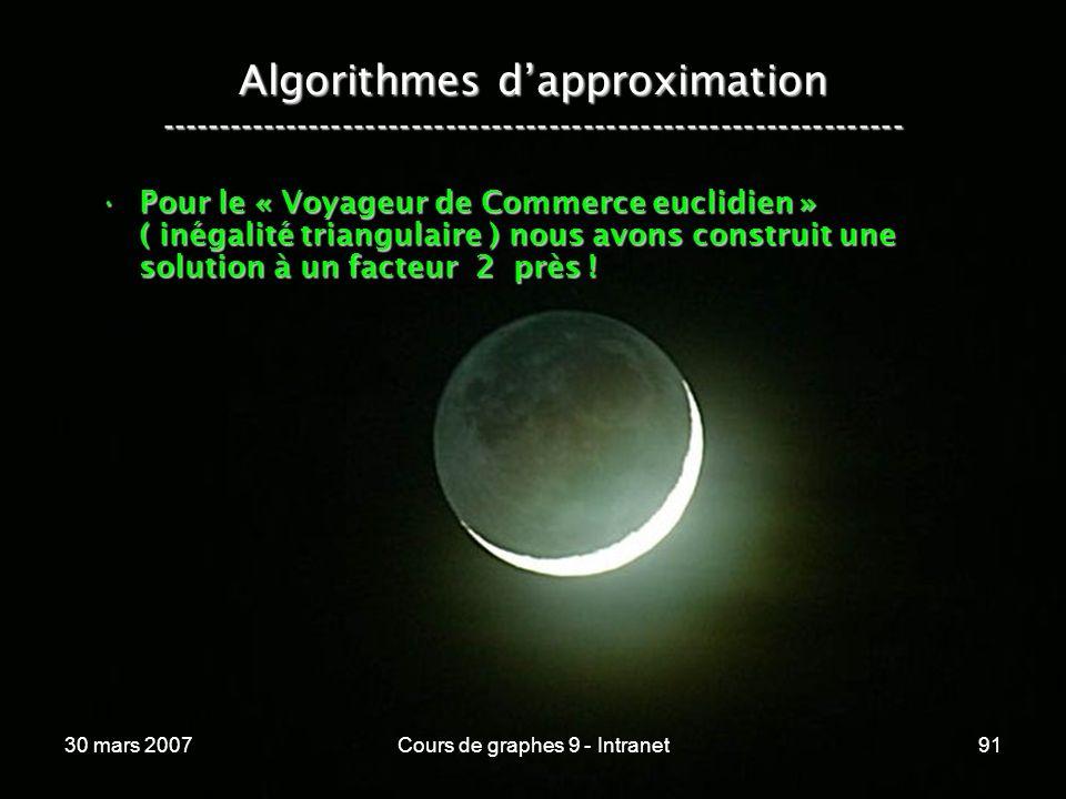 30 mars 2007Cours de graphes 9 - Intranet91 Algorithmes dapproximation ----------------------------------------------------------------- Pour le « Voy
