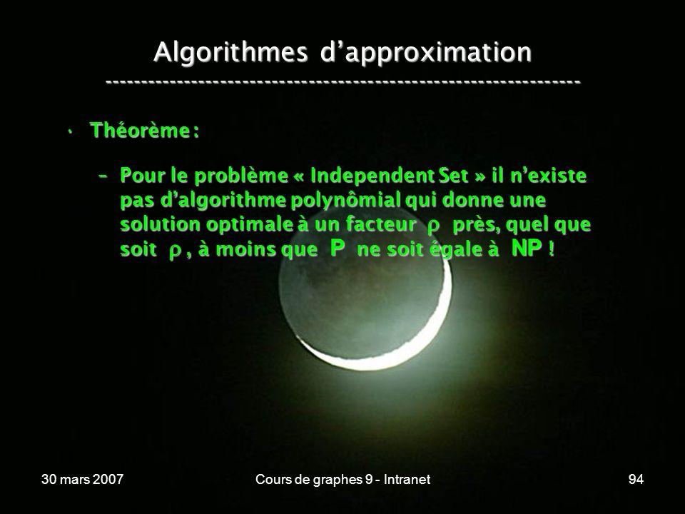 30 mars 2007Cours de graphes 9 - Intranet94 Algorithmes dapproximation ----------------------------------------------------------------- Théorème :Thé