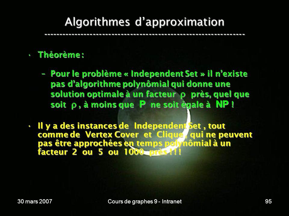 30 mars 2007Cours de graphes 9 - Intranet95 Algorithmes dapproximation ----------------------------------------------------------------- Théorème :Thé