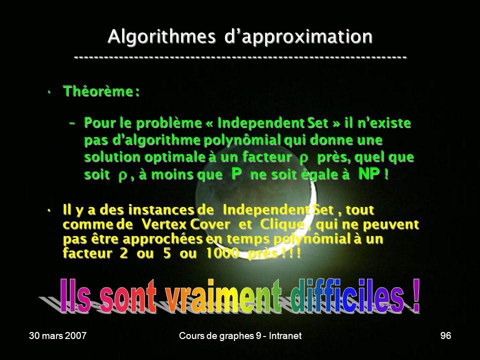 30 mars 2007Cours de graphes 9 - Intranet96 Algorithmes dapproximation ----------------------------------------------------------------- Théorème :Thé