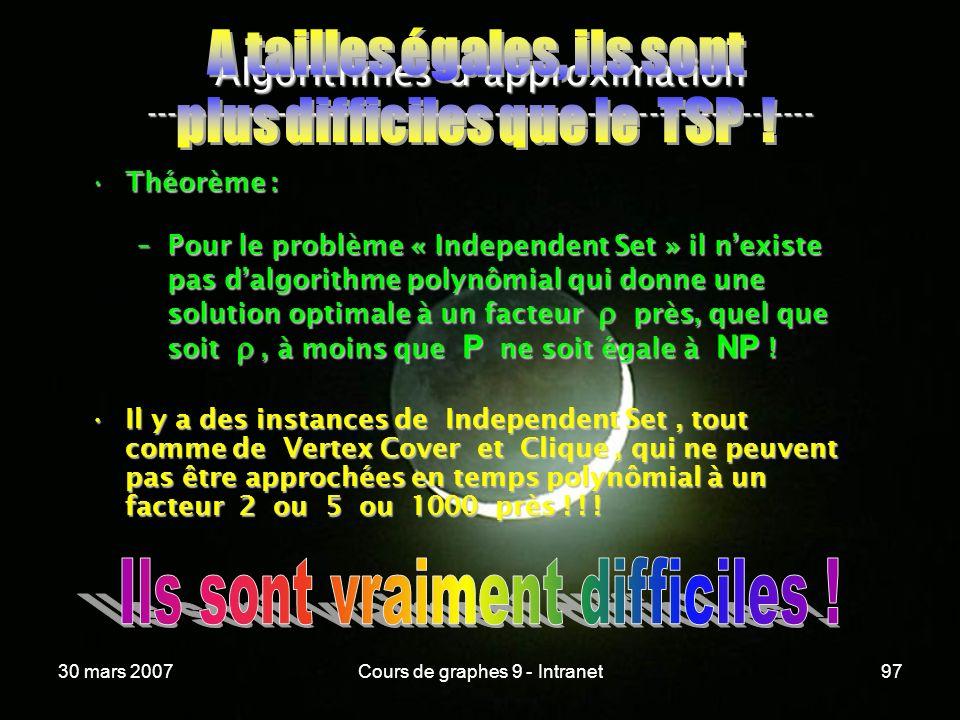 30 mars 2007Cours de graphes 9 - Intranet97 Algorithmes dapproximation ----------------------------------------------------------------- Théorème :Thé