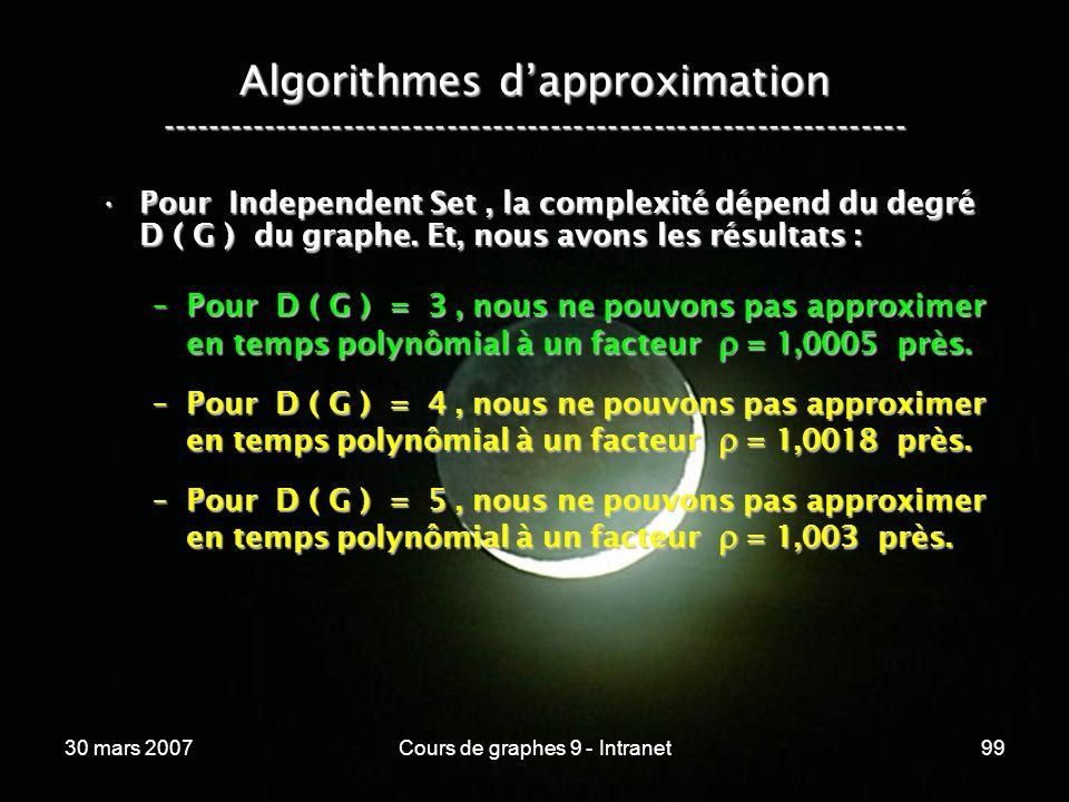 30 mars 2007Cours de graphes 9 - Intranet99 Algorithmes dapproximation ----------------------------------------------------------------- Pour Independ