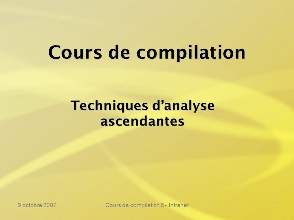9 octobre 2007Cours de compilation 5 - Intranet1 Cours de compilation Techniques danalyse ascendantes