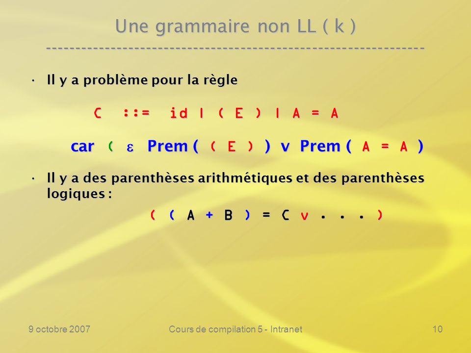 9 octobre 2007Cours de compilation 5 - Intranet10 Une grammaire non LL ( k ) ---------------------------------------------------------------- Il y a problème pour la règleIl y a problème pour la règle C ::= id | ( E ) | A = A C ::= id | ( E ) | A = A car ( Prem ( ( E ) ) v Prem ( A = A ) car ( Prem ( ( E ) ) v Prem ( A = A ) Il y a des parenthèses arithmétiques et des parenthèses logiques :Il y a des parenthèses arithmétiques et des parenthèses logiques : ( ( A + B ) = C v...