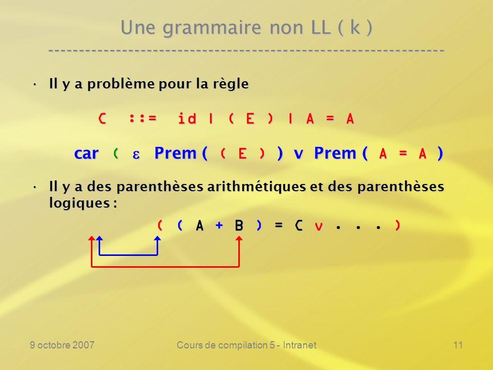 9 octobre 2007Cours de compilation 5 - Intranet11 Une grammaire non LL ( k ) ---------------------------------------------------------------- Il y a problème pour la règleIl y a problème pour la règle C ::= id | ( E ) | A = A C ::= id | ( E ) | A = A car ( Prem ( ( E ) ) v Prem ( A = A ) car ( Prem ( ( E ) ) v Prem ( A = A ) Il y a des parenthèses arithmétiques et des parenthèses logiques :Il y a des parenthèses arithmétiques et des parenthèses logiques : ( ( A + B ) = C v...