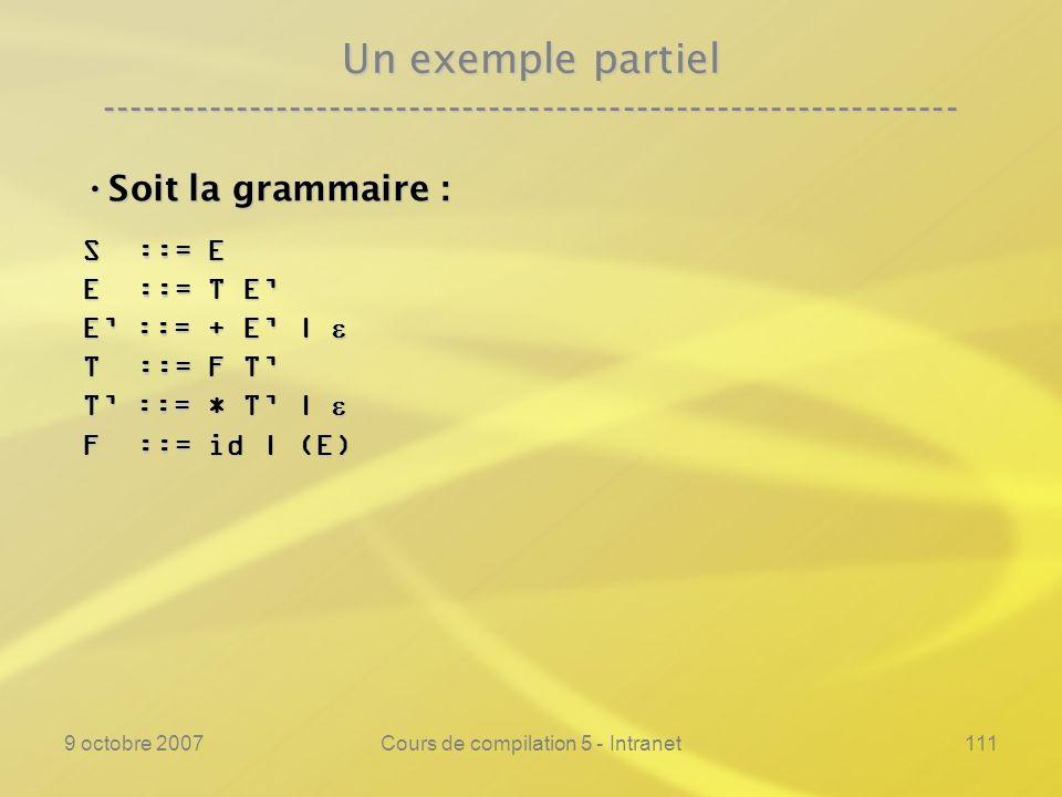 9 octobre 2007Cours de compilation 5 - Intranet111 Un exemple partiel ---------------------------------------------------------------- Soit la grammaire : Soit la grammaire : S ::= E E ::= T E E ::= + E | E ::= + E | T ::= F T T ::= * T | T ::= * T | F ::= id | (E)