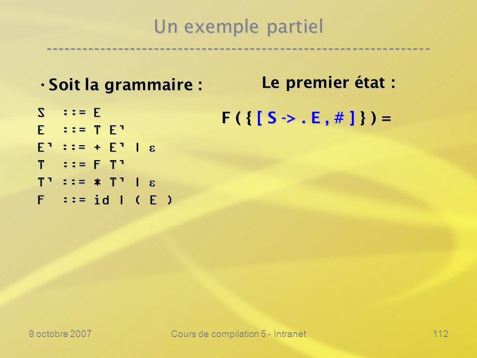 9 octobre 2007Cours de compilation 5 - Intranet112 Un exemple partiel ---------------------------------------------------------------- Soit la grammaire : Soit la grammaire : S ::= E E ::= T E E ::= + E | E ::= + E | T ::= F T T ::= * T | T ::= * T | F ::= id | ( E ) Le premier état : Le premier état : F ( { [ S ->.