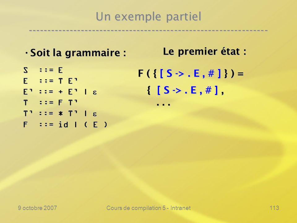 9 octobre 2007Cours de compilation 5 - Intranet113 Un exemple partiel ---------------------------------------------------------------- Soit la grammaire : Soit la grammaire : S ::= E E ::= T E E ::= + E | E ::= + E | T ::= F T T ::= * T | T ::= * T | F ::= id | ( E ) Le premier état : Le premier état : F ( { [ S ->.