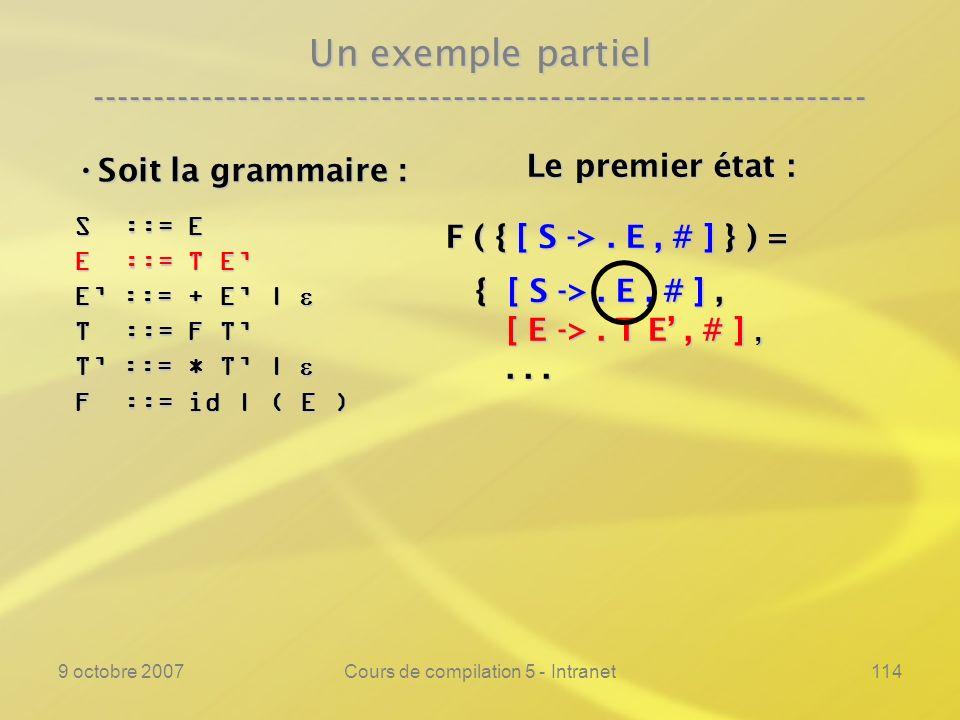 9 octobre 2007Cours de compilation 5 - Intranet114 Un exemple partiel ---------------------------------------------------------------- Soit la grammaire : Soit la grammaire : S ::= E E ::= T E E ::= + E | E ::= + E | T ::= F T T ::= * T | T ::= * T | F ::= id | ( E ) Le premier état : Le premier état : F ( { [ S ->.
