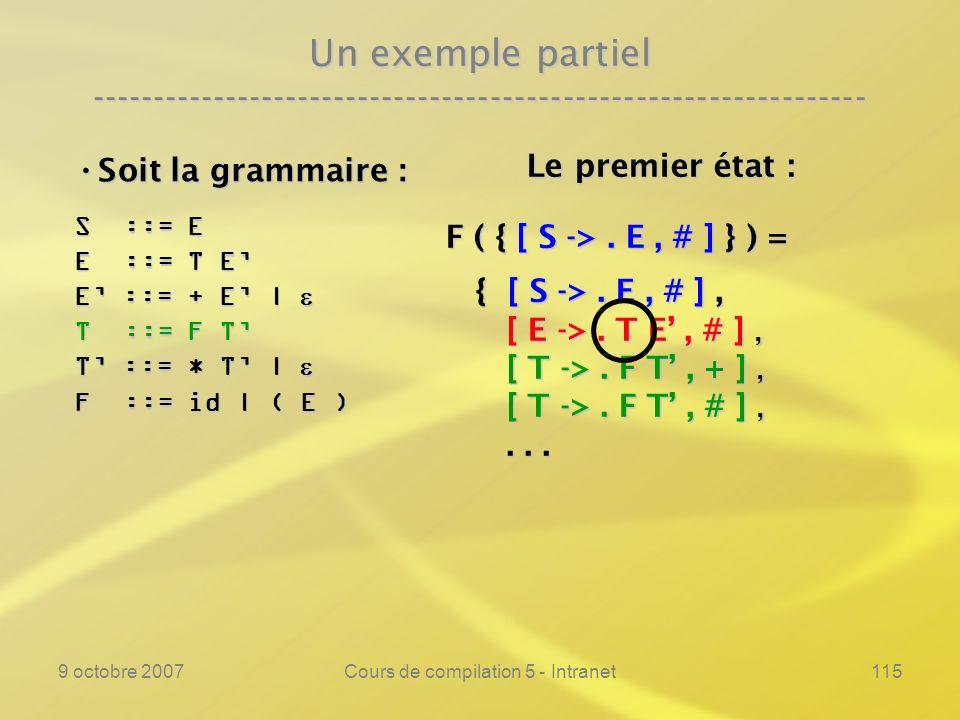 9 octobre 2007Cours de compilation 5 - Intranet116 Un exemple partiel ---------------------------------------------------------------- Soit la grammaire : Soit la grammaire : S ::= E E ::= T E E ::= + E | E ::= + E | T ::= F T T ::= * T | T ::= * T | F ::= id | ( E ) Le premier état : Le premier état : F ( { [ S ->.