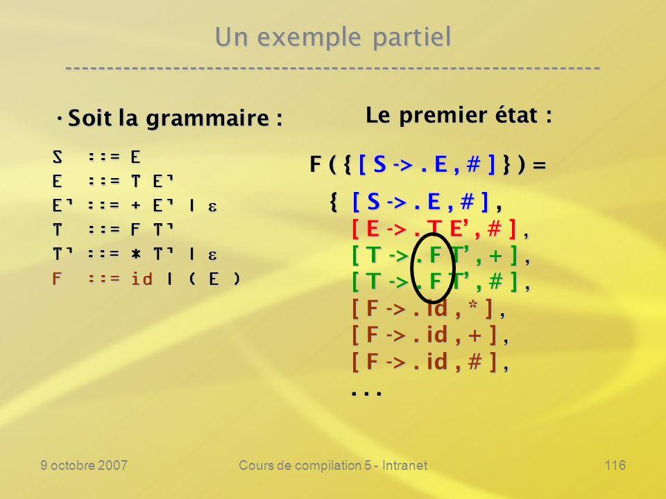 9 octobre 2007Cours de compilation 5 - Intranet117 Un exemple partiel ---------------------------------------------------------------- Soit la grammaire : Soit la grammaire : S ::= E E ::= T E E ::= + E | E ::= + E | T ::= F T T ::= * T | T ::= * T | F ::= id | ( E ) Le premier état : Le premier état : F ( { [ S ->.