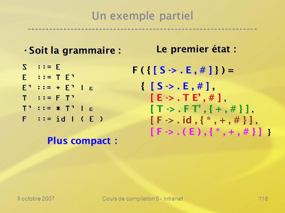 9 octobre 2007Cours de compilation 5 - Intranet118 Un exemple partiel ---------------------------------------------------------------- Soit la grammaire : Soit la grammaire : S ::= E E ::= T E E ::= + E | E ::= + E | T ::= F T T ::= * T | T ::= * T | F ::= id | ( E ) Le premier état : Le premier état : F ( { [ S ->.