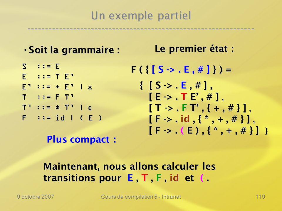9 octobre 2007Cours de compilation 5 - Intranet119 Un exemple partiel ---------------------------------------------------------------- Soit la grammaire : Soit la grammaire : S ::= E E ::= T E E ::= + E | E ::= + E | T ::= F T T ::= * T | T ::= * T | F ::= id | ( E ) Le premier état : Le premier état : F ( { [ S ->.