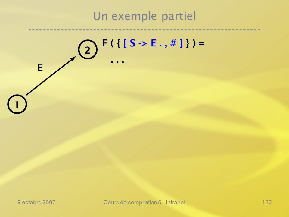9 octobre 2007Cours de compilation 5 - Intranet120 Un exemple partiel ---------------------------------------------------------------- F ( { [ S -> E., # ] } ) =......