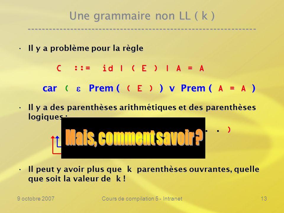 9 octobre 2007Cours de compilation 5 - Intranet14 Une grammaire non LL ( k ) ---------------------------------------------------------------- Il y a problème pour la règleIl y a problème pour la règle C ::= id | ( E ) | A = A C ::= id | ( E ) | A = A car ( Prem ( ( E ) ) v Prem ( A = A ) car ( Prem ( ( E ) ) v Prem ( A = A ) Il y a des parenthèses arithmétiques et des parenthèses logiques :Il y a des parenthèses arithmétiques et des parenthèses logiques : ( ( A + B ) = C v...