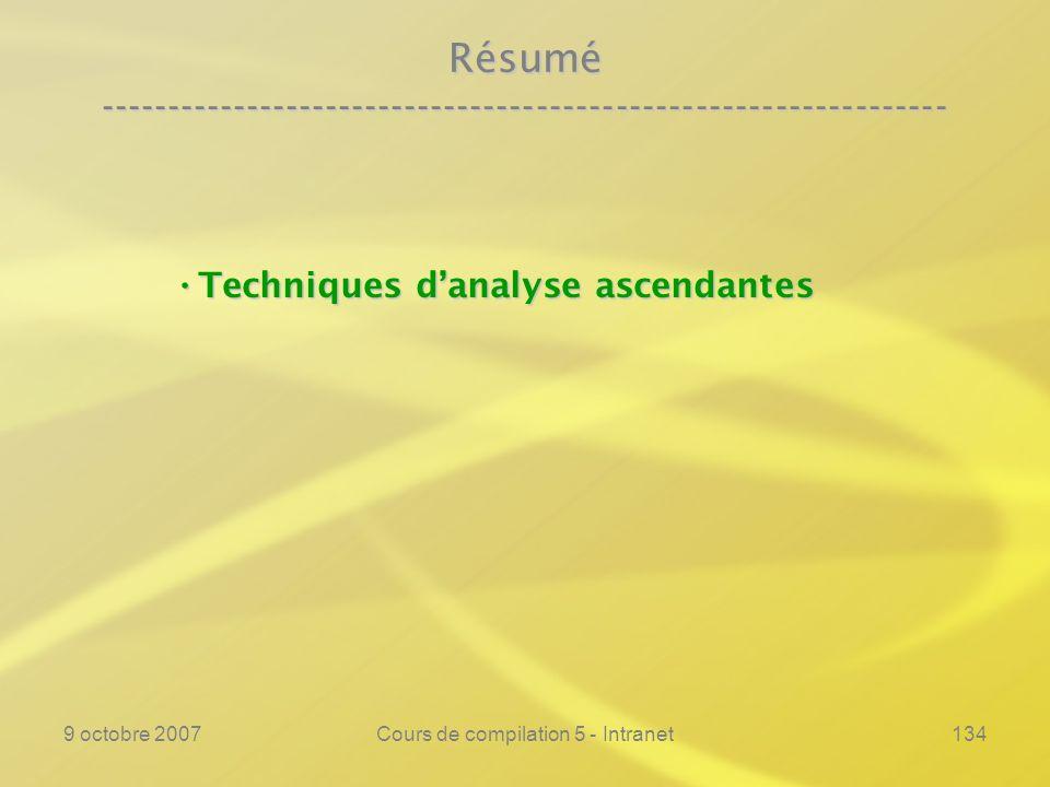 9 octobre 2007Cours de compilation 5 - Intranet134 Résumé ---------------------------------------------------------------- Techniques danalyse ascendantes Techniques danalyse ascendantes