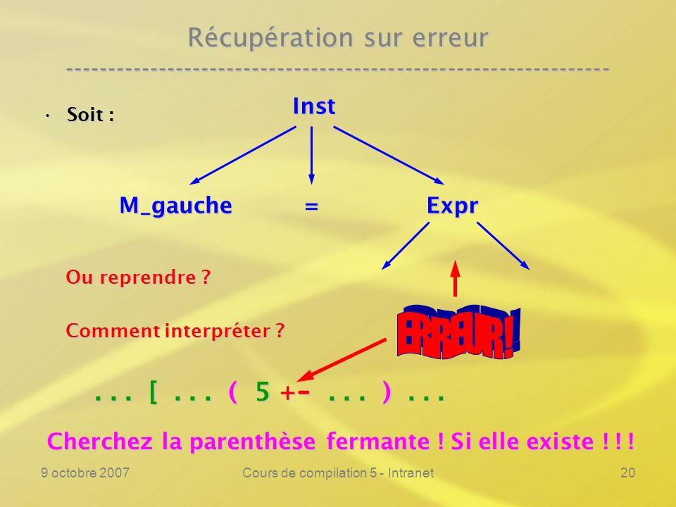 9 octobre 2007Cours de compilation 5 - Intranet20 Récupération sur erreur ---------------------------------------------------------------- Soit :Soit : Ou reprendre .