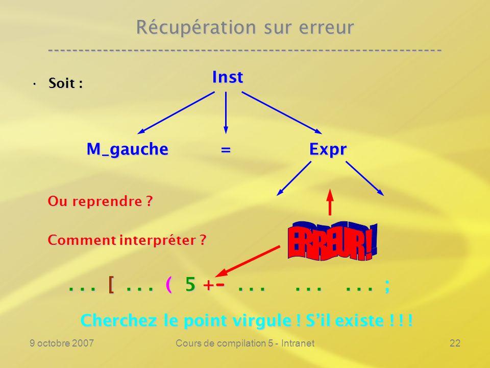 9 octobre 2007Cours de compilation 5 - Intranet23 Récupération sur erreur ---------------------------------------------------------------- Le principe de la récupération sur erreur consisteLe principe de la récupération sur erreur consiste –à considérer les différentes constructions démarrées, mais non terminées ( par exemple : une expression dans un indexage dune instruction, dune fonction ),