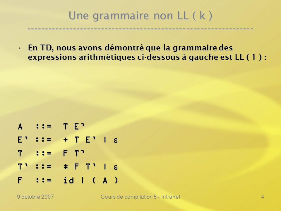 9 octobre 2007Cours de compilation 5 - Intranet4 Une grammaire non LL ( k ) ---------------------------------------------------------------- En TD, nous avons démontré que la grammaire des expressions arithmétiques ci-dessous à gauche est LL ( 1 ) :En TD, nous avons démontré que la grammaire des expressions arithmétiques ci-dessous à gauche est LL ( 1 ) : A ::= T E E ::= + T E | E ::= + T E | T ::= F T T ::= * F T | T ::= * F T | F ::= id | ( A )