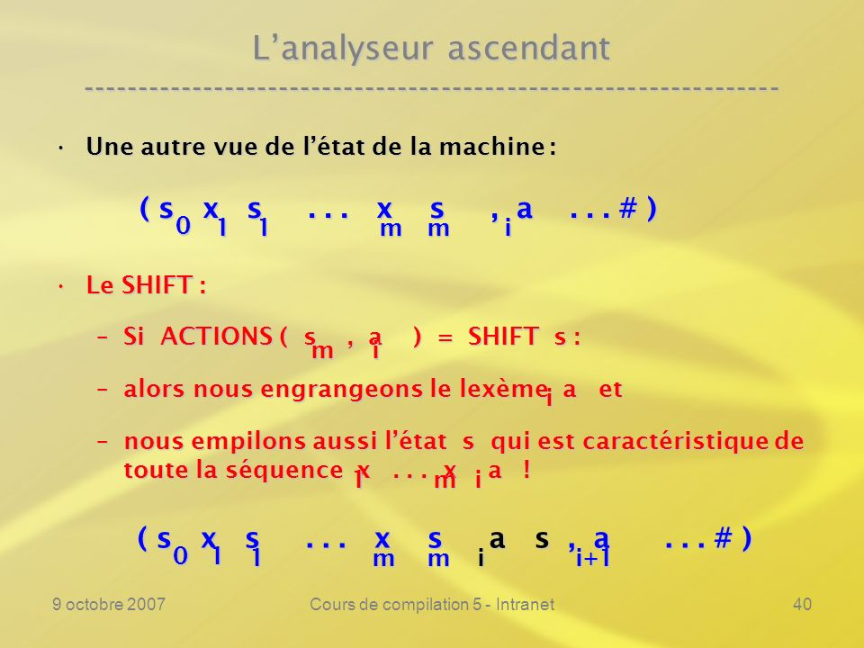 9 octobre 2007Cours de compilation 5 - Intranet40 Lanalyseur ascendant ---------------------------------------------------------------- Une autre vue de létat de la machine :Une autre vue de létat de la machine : Le SHIFT :Le SHIFT : –Si ACTIONS ( s, a ) = SHIFT s : –alors nous engrangeons le lexème a et –nous empilons aussi létat s qui est caractéristique de toute la séquence x...