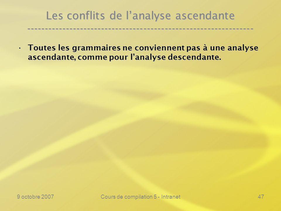 9 octobre 2007Cours de compilation 5 - Intranet48 Les conflits de lanalyse ascendante ---------------------------------------------------------------- Toutes les grammaires ne conviennent pas à une analyse ascendante, comme pour lanalyse descendante.Toutes les grammaires ne conviennent pas à une analyse ascendante, comme pour lanalyse descendante.