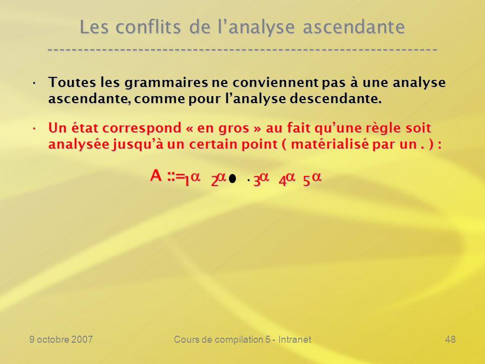 9 octobre 2007Cours de compilation 5 - Intranet49 Les conflits de lanalyse ascendante ---------------------------------------------------------------- Toutes les grammaires ne conviennent pas à une analyse ascendante, comme pour lanalyse descendante.Toutes les grammaires ne conviennent pas à une analyse ascendante, comme pour lanalyse descendante.