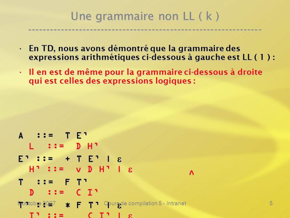 9 octobre 2007Cours de compilation 5 - Intranet5 Une grammaire non LL ( k ) ---------------------------------------------------------------- En TD, nous avons démontré que la grammaire des expressions arithmétiques ci-dessous à gauche est LL ( 1 ) :En TD, nous avons démontré que la grammaire des expressions arithmétiques ci-dessous à gauche est LL ( 1 ) : Il en est de même pour la grammaire ci-dessous à droite qui est celles des expressions logiques :Il en est de même pour la grammaire ci-dessous à droite qui est celles des expressions logiques : A ::= T E L ::= D H E ::= + T E | H ::= v D H | E ::= + T E | H ::= v D H | T ::= F T D ::= C I T ::= * F T | I ::= C I | T ::= * F T | I ::= C I | F ::= id | ( A ) C ::= id | ( E ) v