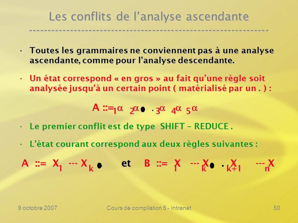 9 octobre 2007Cours de compilation 5 - Intranet50 Les conflits de lanalyse ascendante ---------------------------------------------------------------- Toutes les grammaires ne conviennent pas à une analyse ascendante, comme pour lanalyse descendante.Toutes les grammaires ne conviennent pas à une analyse ascendante, comme pour lanalyse descendante.