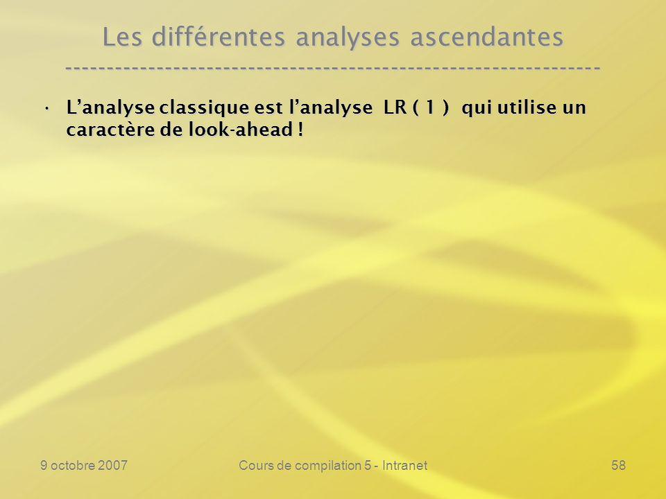 9 octobre 2007Cours de compilation 5 - Intranet59 Les différentes analyses ascendantes ---------------------------------------------------------------- Lanalyse classique est lanalyse LR ( 1 ) qui utilise un caractère de look-ahead !Lanalyse classique est lanalyse LR ( 1 ) qui utilise un caractère de look-ahead .